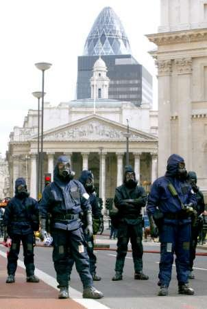 Police in front of St Paul's, London, practise in a mock terror attack