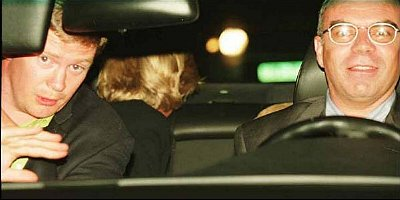 One of the last photos of Diana: Trevor Rees-Jones (left) raises his hand to shield his eyes from flashguns, at the wheel is Henri Paul (right). While in the centre Diana looks back to see if photographers are following