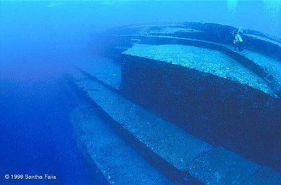 The submerged Yonguni ruins, off the coast of Yokohama, Japan.