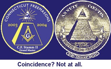The satanic/freemason all-seeing eye on US money and masonic lodge emblem