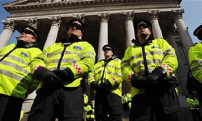Police at G20 protests in London earlier this year