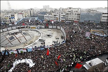 Pro-government Iranians gather in central Tehran, Dec. 30, 2009