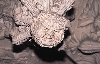 Pictured above: a stone carving of the 'Green Man' a pagan, pre-christian figure of fertility and power