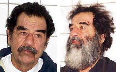 Saddam Hussein and one of his look-alike doubles?