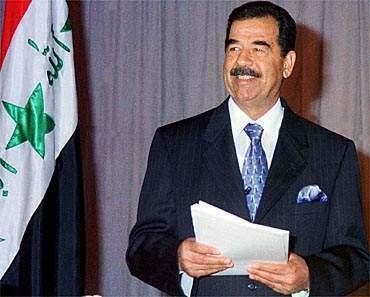 A flashback to Saddam Hussein - or one of his many doubles - while he was still holding the reins of power in Iraq.
