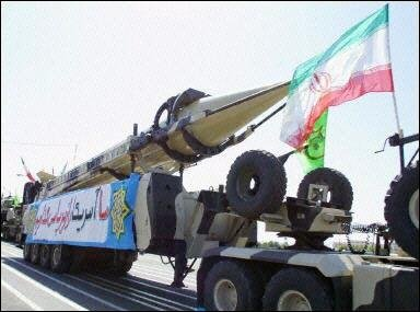 Iran's medium range missile, capable of carrying a nuclear warhead and striking Israel, on display in Teheran recently.