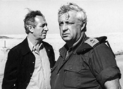 Shimon Peres and Ariel Sharon are old comrades, here they are in January 1975