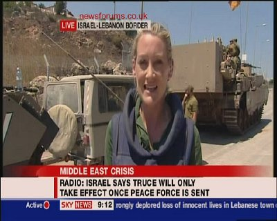 Sky news reports on the situation in the northern Israel/Lebanon border, completely oblivious to the fact that Israel is deploying WMDs in its offensive.