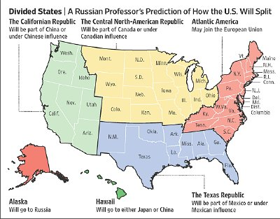 How Prof Panarin sees the United States of America fragmenting