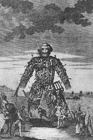The Wickerman, the manlike figure into which victims were placed before being burnt alive