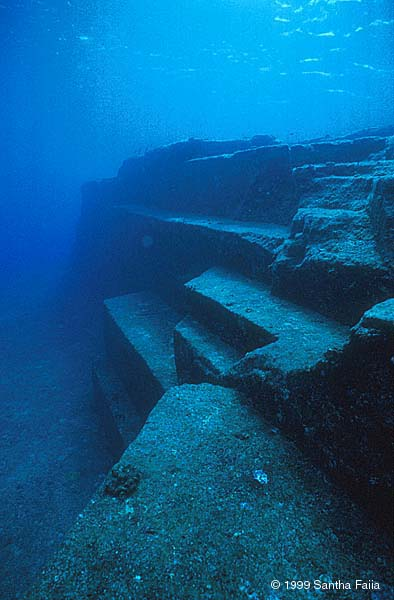 The Yonguni underwater ruins Okinawi, Japan.