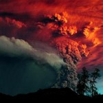 Cloud of ash from Puyehue volcano in southern Chile