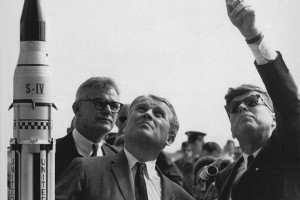 One of the Nazi scientists brought over in Poperation Paperclip, Wernher von Braun explains the Saturn Launch System to President John F. Kennedy. Click to enlarge