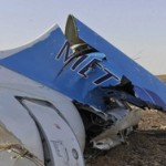 Metrojet wreckage in the Sinia. Click to enlarge