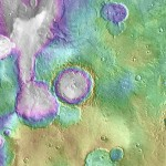 "Valleys much younger than well-known ancient valley networks on Mars are evident near the informally named ""Heart Lake"" on Mars. Click to enlarge"