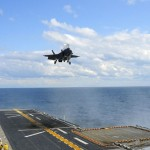 An F-35B makes the first vertical landing on USS Wasp. Source: US Navy/wikipedia.org