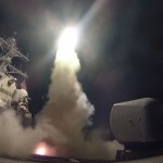 Cruise missile launched from the USS Porter at targets in Syria in April 2017. Click to enlarge