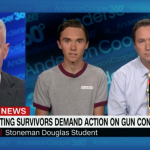 CIA's Anderson Cooper with Deep State operatives Kevin and David Hogg