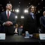 (L to R) Christopher Wray, Gina Haspel and Dan Coats. Click to enlarge