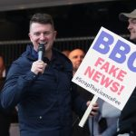 Tommy Robinson leads a protest outside the BBC offices in Salford. Click to enlarge