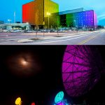 Raising the rainbow at the NSA (above) and GCHQ (below). Click to enlarge