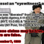 Holocaust Eyewitnesses: Contradictory, Shifting & Evasive Testimony Is Protected From Questioning
