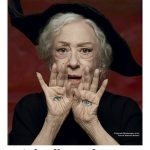 """Fernanda Montenegro is considered to be the """"greatest Brazilian actress of all times"""". She recently appeared on the magazine Quatro Cinqo Um with the headline """"Sobre livros e bruxas"""" which means """"About books and witches"""". Appropriately enough, the entire photoshoot is all about witchcraft and occult elite symbolism. On this pic, she has eyes on her hands – a symbol associated with magick. Click to enlarge"""