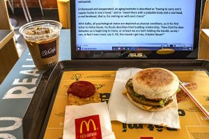 Writing about Kafka in a Saigon McDonalds, 2019. Click to enlarge