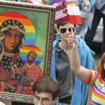 Poland's famous historic Madonna and child portrait gets an LGBT rainbow. Click to enlarge