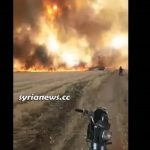 NATO backed terrorists burning Syrian wheat crops in Ras-Al-Ayn-Hasakah. Click to enlarge