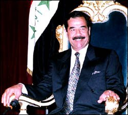A photo of Saddam while he was still in power, note the dental work.